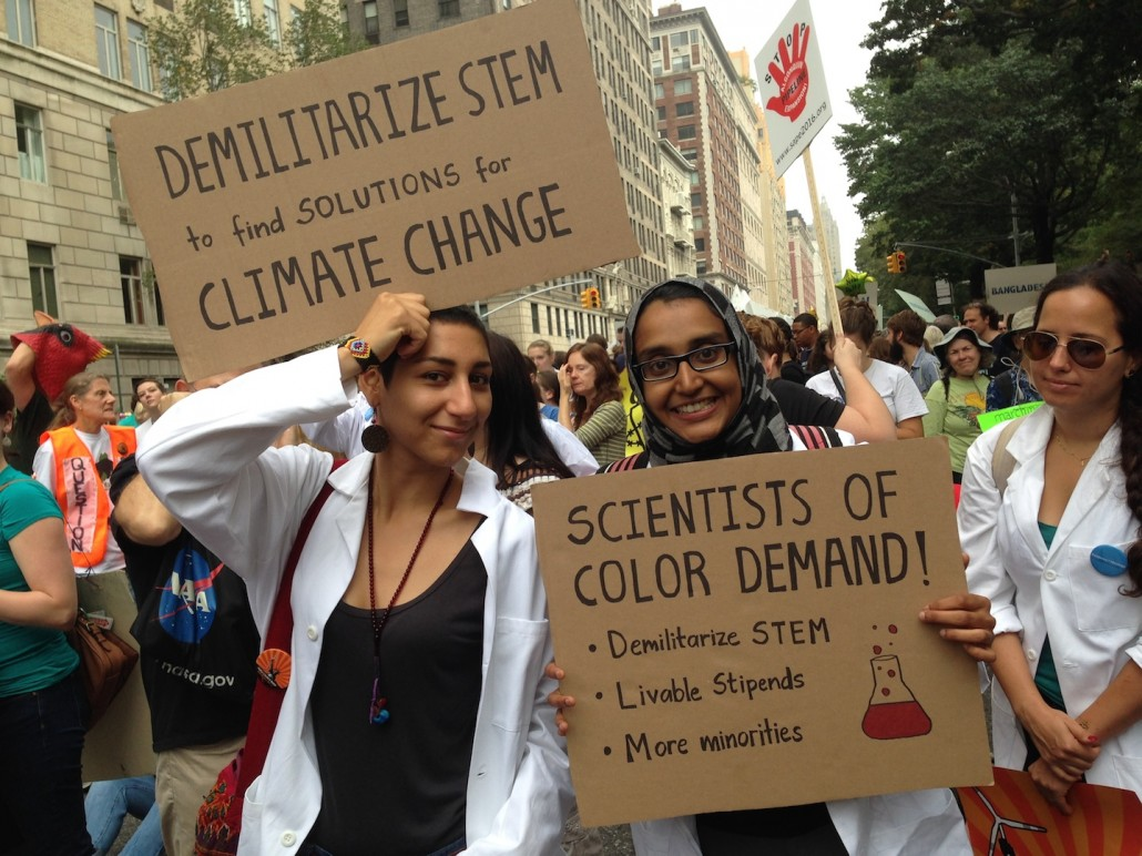 Demilitarize STEM. Sign at the People's Climate March.