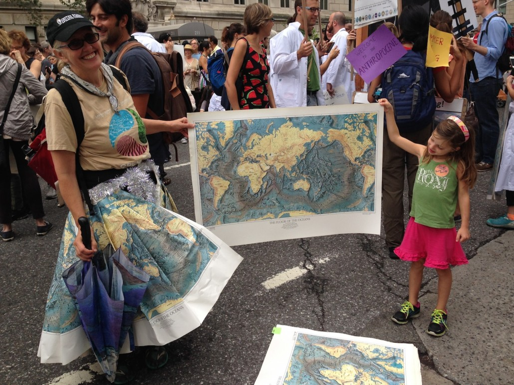Robin Bell's map skirt at the People's Climate March.
