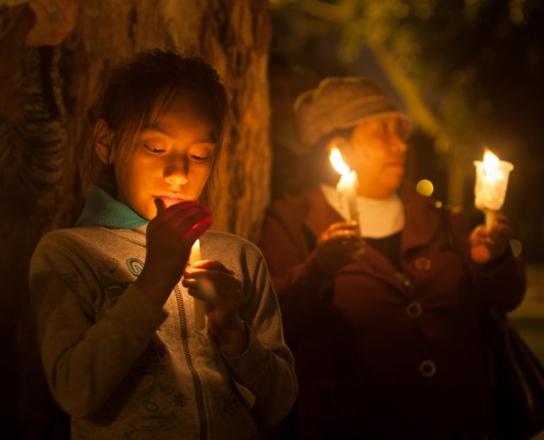 Vigil for the Climate On, held on the eve of the first day of COP20. Christiana Figueres and Manuel Pulgar-Vidal both addressed the crowd, and lit candles. v