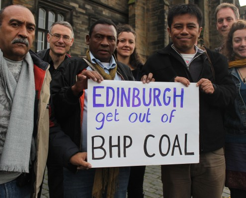 Colombian coal mining activists with People & Planet, FoE Scotland, and WAHLI (FoE Indonesia). Photo: Rick Lander/ CC CC BY-NC-SA 2.0/