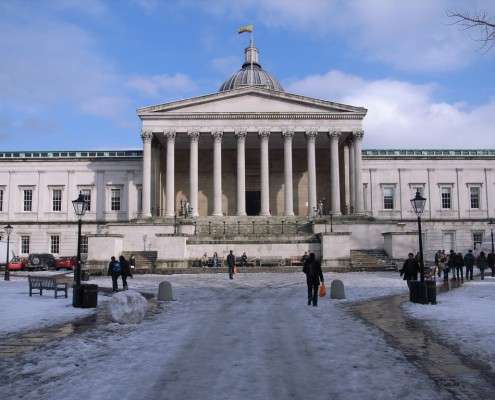 UCL's iconic quad in the snow. Photo: Steve Cadman/ CC BY-SA 2.0