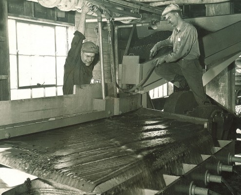 Engineering students working with coal