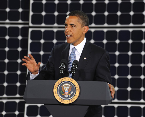 President Obama and solar panel. (U.S. Air Force Photo/Senior Airman Brian Ybarbo, released)